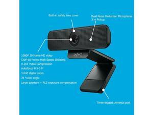 Logitech Webcam with HD 1080P 60Hz Video and Built-In Stereo Microphones Autofocus Computer Web Camera Conference Dedicated Privacy Camera for Windows PC or Mac