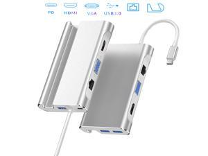 7 in 1 USB C Hub To VGA 1080P HDMI 4K RJ45 Gigabit Network PD Charging USB3.0 All-In-One Expansion Dock Gigabit Ethernet Adapter(Silver)