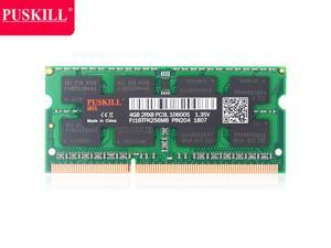PUSKILL DDR3 1600MHz SODIMM RAM PC3-12800 4G 1.35V CL11 204 Pin Support ECC Unbuffered Laptop Memory Notebook RAM Module for Mac Intel and AMD System