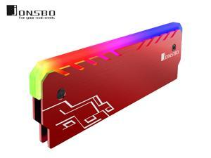 Jonsbo NC-1 Memory RAM Cooler Magnesium Alloy RGB Desktop Memory Cooling Vest Color Changing Streamer Light Effect Cooling Heatsink for DIY PC Game DDR DDR3 DDR4-Red
