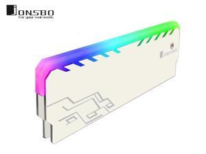 Jonsbo NC-1 Memory RAM Cooler Magnesium Alloy RGB Desktop Memory Cooling Vest Color Changing Streamer Light Effect Cooling Heatsink for DIY PC Game DDR DDR3 DDR4-White