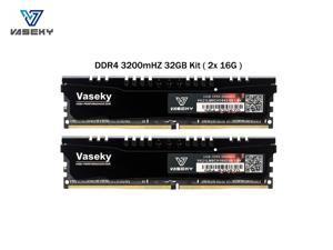 Vaseky Knight Desktop Ram Memory DDR4 32GB Kit (2x16GB) 3200MHz PC4-25600 Desktop RAM CL19 Unbuffered Non-ECC1.2V 288 Pin  U-DIMM  Memory for Intel AMD System Desktop Computer