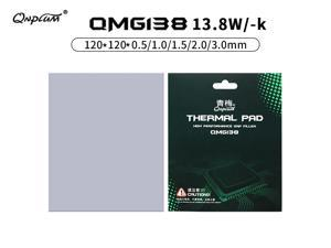 Qnplum QMG138 Thermal Pad 13.8 W/mK Non Conductive Heat Resistance High Temperature Resistance Silicone Thermal Pads for Laptop Heatsink/GPU/CPU/LED Cooler High Performance Gap Filler 120x120x1.0mm