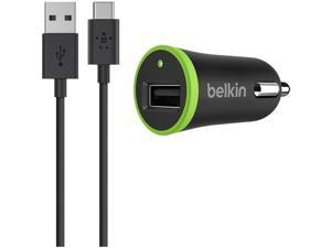 BELKIN COMPONENTS F7U002BT06-BLK USB-C TO USB-A CABLE WITH UNIVERSAL CAR CHARGER, 6 FEET.