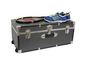 Gray Grey Footlocker Trunk with Wheels Storage Chest Travel Luggage College Dorm