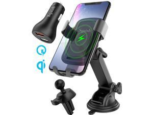 Squish Qi Wireless Car Charger Mount with QC 3.0 Car Charger, Air Vent Holder Included, 10W 7.5W Fast Charging Car Mount for iPhone Xs MAX/XR/XS/X/8/8 Plus Samsung S10 S9 S8 S7 Samsung Note 9 8 7 etc