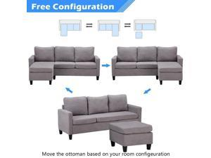 Modern Linen Sectional L-Shaped Sofa - Small Space Adjustable Couch Light Gray