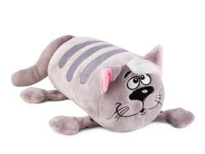 "13"" Gray Cat Bolster Cushion. Kitty Decorative Pillow"