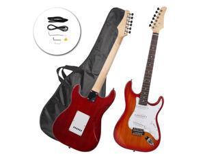 Rose wood Fingerboard Electric Guitar Sunset Red +Gigbag +Cord+Strap+Accessor