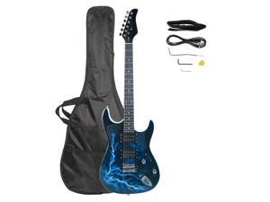 New Lightning Style White Electric Guitar +Strap+Cord+Gigbag+Picks
