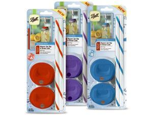 Jarden Home Brands Ball Mason Jar Regular Sip and Straw Lids (4 Lids 4 Straws)