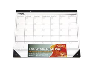 """Artistic 17""""x22"""" Undated Calendar White Paper Desk Pad, Customizable, Note Section, 36 Perforated Sheets, Protects Desks from Scratches and Spills"""