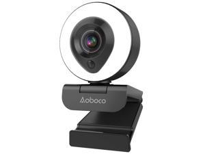 Webcam Streaming 1080P Full HD with Dual Microphone and Ring Light, Aoboco USB Pro Web Camera Stream for Mac Windows Laptop Twitch Xbox One Skype YouTube OBS Xsplit