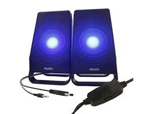 Mailin Computer Speakers, 2.0 Stereo Laptop Speakers, LED Lights USB Speakers 6W RMS Total Power Electronic Computer Speakers, Desktop Speakers Also Compatible for PC, Tablet