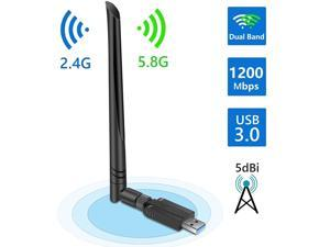 USB WiFi Adapter 1200Mbps, Onvian USB 3.0 Wireless Network Adapter, 802.11ac WiFi Dongle with Dual Band 2.4GHz 5.8GHz, 5dBi Antenna, Supports Windows 10 8 7 Vista XP, Mac10.6-10.13, Linux