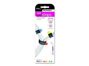 Dotz Reusable Hook & Loop Cord Straps for Cord and Cable Management, 6 Count, Assorted Colors (RHLS221MC)