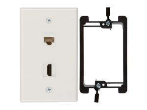 Buyers Point HDMI and Cat6 Ethernet RJ45 Wall Plate [UL Listed], with Single Gang Low Voltage Mounting Bracket Device (White Kit)