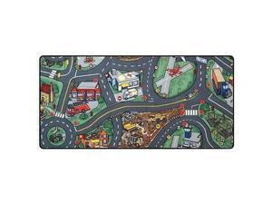 """Learning Carpets Airport Play Carpet, 79"""" x 36"""" Rect. Kids Playroom Road Rug, Classroom Furniture Educational Carpet for Daycares/Homes/Preschools"""