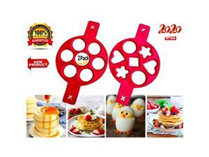 2020 Pancake Mold Best Cookware Set, 2 Pack 14 Cavity Silicone Cupcake Molds -Best Kitchen Gadgets, Nonstick Cooking Tool Egg Ring Maker, You Only Need a Recipe For Pancakes, Premium Grade Silicone