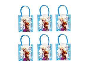 """Disney Frozen Blue PVC Tote Bag Party Bag x 6 (12.5"""" X 7.5"""" X 2.25"""")"""