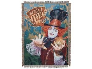"""Disneys Alice in Wonderland, """"The Hatters Mad"""" Woven Tapestry Throw Blanket, 48"""" x 60"""", Multi Color"""