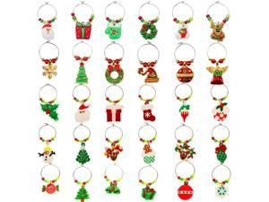 Boao 30 Pieces Wine Cup Charms Christmas Themed Wine Glass Marks Wine Glass Ring Drink Tags for Christmas Party Supplies
