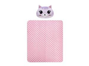 Heritage Kids 2 Piece Figural Kitty Pillow & Pink Stars Plush Throw Set, 50x60