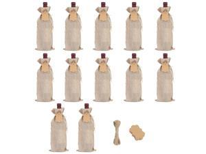 SUBANG 12 Pieces Jute Wine Bags Reusable Wine Bags with Ropes and Tags, 14 x 6 Inches