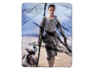 "Disney Star Wars Rey & BB-8 Silky Soft Plush Throw Blanket 40"" x 50"" 102 x 127 cm"