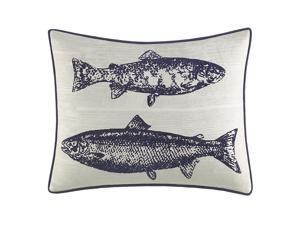"Eddie Bauer   Salar Collection   100% Cotton Salmon Fish Design Decorative Throw Pillow/Sham with Corded Edge Lining, Zipper Closure, 16"" x 20"", Navy"