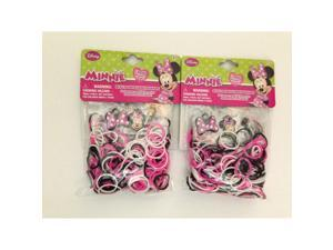 Disney Minnie Mouse 300 Loom Bands 12 S Clips and 3 Charms (2 Pack)