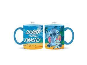 Disney Lilo and Stitch Ohana Means Family Ceramic Mug, 14-Ounce, Blue