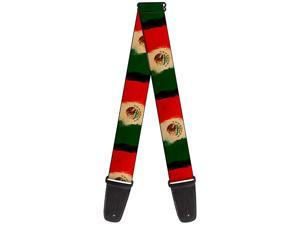 Buckle-Down Guitar Strap Mexico Flag Distressed Painting 2 Inches Wide (GS-W33931)