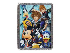 """Disneys Kingdom Hearts, """"Ready for the Road"""" Woven Tapestry Throw Blanket, 48"""" x 60"""", Multi Color"""