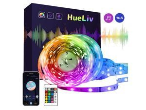 HueLiv 32.8ft LED Strip Lights Color Changing Strips 5050 RGB LED Wireless Smart Wi-Fi App Control Works with Alexa Google Home, Music Sync for Home, Bedroom, TV, Kitchen and Party