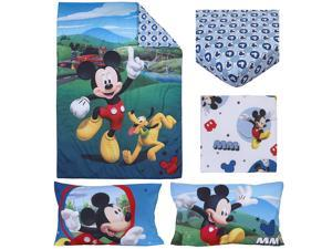 "Disney 4 Piece Toddler Bedding Set, Mickey Mouse Playhouse, Blue/White, Standard Toddler Mattress (52"" x 28"" x 8"")"
