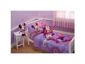 Disney 4 Piece Minnies Fluttery Friends Toddler Bedding Set, Lavender