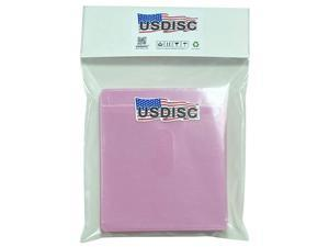 USDISC Plastic Sleeves, Double-Sided 2 Disc, Pink, Pack of 100