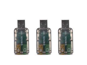 Yootop 3 Pcs External 5.1 USB 3D Audio Sound Card USB Audio Adapter with 3.5mm Audio Jacks, Black