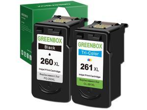 greenbox factured ink cartridges 260 and 261 replacement for canon pg-260 xl cl-261 pg-260 cl-261 for canon ts5320 ts6420 tr7020 all in one wireless printer (1 black, 1 color)