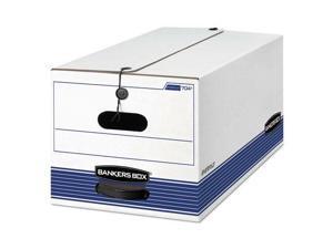 STOR/FILE Storage Box, Letter, Button Tie, White/Blue, 12/Carton