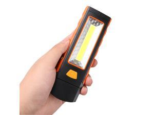 Portable Cob Led Work Light Inspection Lamp Magnetic Flashlight Torch Folding Hook Hand Tool Garage Outdoors-Orange