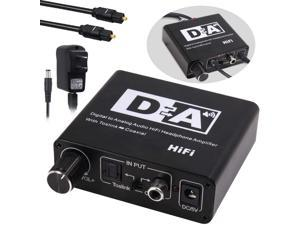 192KHz DAC Digital to Analog Converter, 3 in 1 Digital to Analog Audio Converter Optical Toslink Coaxial to Analog RCA L/R 3.5mm Jack Audio Adapter, Support Toslink to Coaxial and Coaxial to Toslink