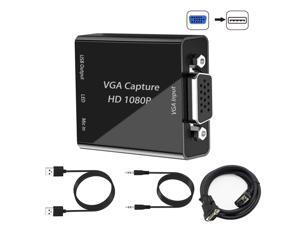 VGA Capture Card, VGA to USB Capture Device with Mic input Support Full HD 1080P Video for Gaming, Streaming, Teaching, Video Conference, Live Broadcasting