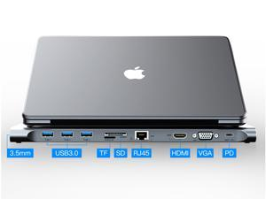 Vention USB C Hub, USB C 10 in 1 Thunderbolt 3 hub 1000M RJ45 Ethernet, 4K HDMI, VGA, USB 3.0 Ports, PD 2.0 Charging Port, Card Reader, Aux Audio Port for MacBook, Chromebook ,and More USB-C  Laptops