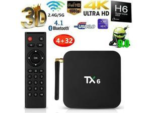 New Android 9.0 TV Box,TX6 Android TV Box 4GB DDR3 32GB EMMC Dual WiFi 2.4G+5G Bluetooth Quad Core 3D 4K Ultra HD H.265 USB3.0 Android TV Set Top Box