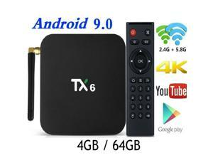 New Android 9.0 TV Box,TX6 Android TV Box 4GB DDR3 64GB EMMC Dual WiFi 2.4G+5G Bluetooth Quad Core 3D 4K Ultra HD H.265 USB3.0 Android TV Set Top Box