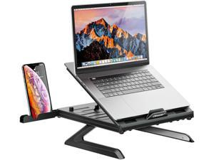 """OImaster Laptop Stand Adjustable Computer Stand Patented, Multi-Angle Stand Portable Foldable Laptop Riser Phone Stand Notebook Holder Compatible for MacBook, Air, Pro, Surface 9-15.6""""Laptop Black"""