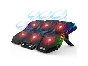 RGB Laptop Cooling Pad Gaming Laptop Cooler with 12-Mode, 6 High-Speed Quiet Fans, LED Screen Control Panel, Colorful LED Lights, 7 Heights Stand, 2 USB Ports, Compatible up to 17 Inch Laptop