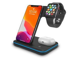 AUTENS Wireless Charging Stand, 3 in 1 15W Qi Fast Charger Dock for iPhone 12/12 mini/11/Pro Max X XS XR, for Samsung Galaxy S20/S10/S8/Note 10/9, Airpods Pro/2, iWatch Series SE/6/5/4/3/2/1